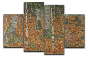 Birch Forest by Klimt 4 Split Panel Canvas  - Canvas Art Rocks - 1
