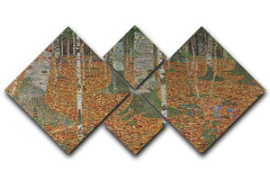 Birch Forest by Klimt 4 Square Multi Panel Canvas  - Canvas Art Rocks - 1
