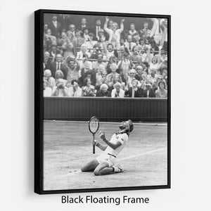 Bjorn Borg celebrates at Wimbledon Floating Frame Canvas