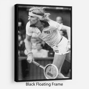 Bjorn Borg in action at Wimbledon Floating Frame Canvas