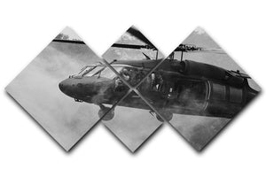 Black Hawk Helicopter 4 Square Multi Panel Canvas  - Canvas Art Rocks - 1