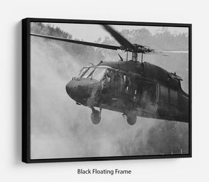 Black Hawk Helicopter Floating Frame Canvas