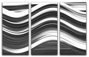 Black and White Wave 3 Split Panel Canvas Print - Canvas Art Rocks - 1