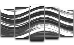 Black and White Wave 5 Split Panel Canvas - Canvas Art Rocks - 1