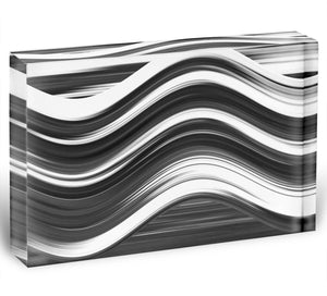 Black and White Wave Acrylic Block - Canvas Art Rocks - 1
