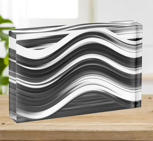 Black and White Wave Acrylic Block - Canvas Art Rocks - 2
