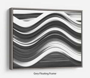 Black and White Wave Floating Frame Canvas - Canvas Art Rocks - 3