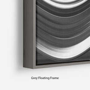 Black and White Wave Floating Frame Canvas - Canvas Art Rocks - 4
