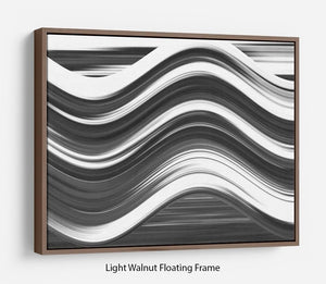 Black and White Wave Floating Frame Canvas - Canvas Art Rocks 7