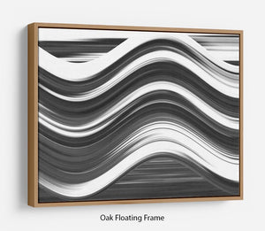 Black and White Wave Floating Frame Canvas - Canvas Art Rocks - 9