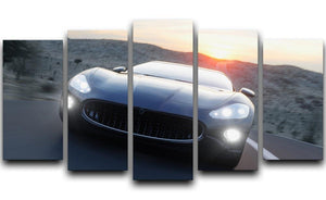 Black sport car on road 5 Split Panel Canvas  - Canvas Art Rocks - 1