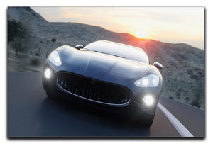 Black sport car on road Canvas Print or Poster  - Canvas Art Rocks - 1