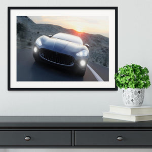 Black sport car on road Framed Print - Canvas Art Rocks - 1