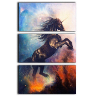 Black unicorn dancing in space 3 Split Panel Canvas Print - Canvas Art Rocks - 1