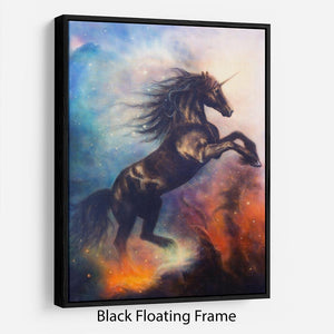 Black unicorn dancing in space Floating Frame Canvas