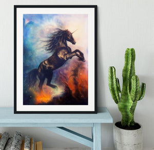 Black unicorn dancing in space Framed Print - Canvas Art Rocks - 1