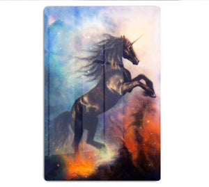 Black unicorn dancing in space HD Metal Print