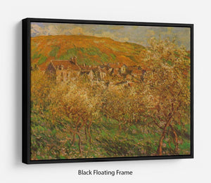 Blooming apple trees by Monet Floating Frame Canvas