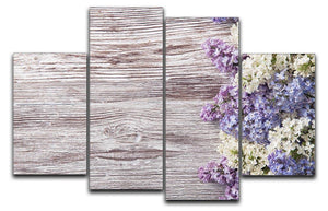 Blossom branch on wooden 4 Split Panel Canvas  - Canvas Art Rocks - 1