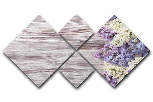 Blossom branch on wooden 4 Square Multi Panel Canvas  - Canvas Art Rocks - 1