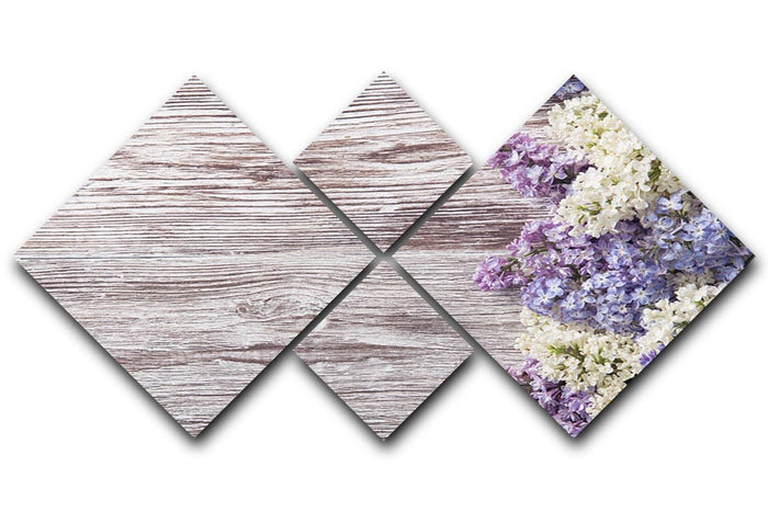 Blossom branch on wooden 4 Square Multi Panel Canvas