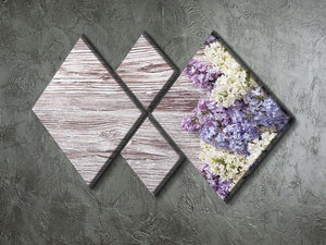 Blossom branch on wooden 4 Square Multi Panel Canvas  - Canvas Art Rocks - 2