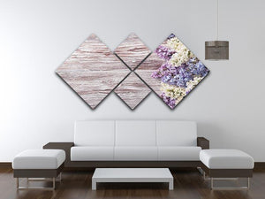 Blossom branch on wooden 4 Square Multi Panel Canvas  - Canvas Art Rocks - 3