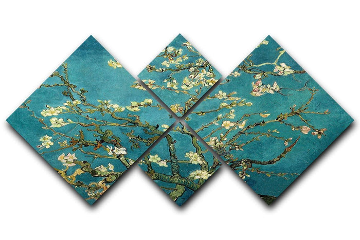 Blossoming Almond Tree by Van Gogh 4 Square Multi Panel Canvas