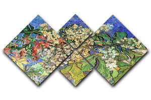 Blossoming Chestnut Branches by Van Gogh 4 Square Multi Panel Canvas  - Canvas Art Rocks - 1