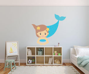 Blue Mermaid Wall Sticker - Canvas Art Rocks - 1
