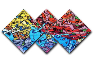 Blue Robot Graffiti 4 Square Multi Panel Canvas  - Canvas Art Rocks - 1