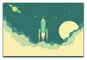 Blue Spaceship taking off Canvas Print or Poster  - Canvas Art Rocks - 1