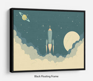 Blue Spaceship taking off Floating Frame Canvas