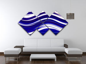 Blue Wave 4 Square Multi Panel Canvas - Canvas Art Rocks - 3
