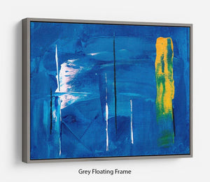Blue and Green Abstract Painting Floating Frame Canvas