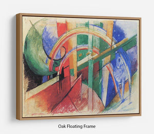 Blue horse with rainbow by Franz Marc Floating Frame Canvas