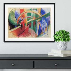 Blue horse with rainbow by Franz Marc Framed Print - Canvas Art Rocks - 1