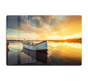 Boat on lake with a reflection HD Metal Print