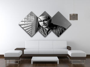 Bob Hoskins in 1986 4 Square Multi Panel Canvas  - Canvas Art Rocks - 3