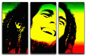 Bob Marley 3 Split Panel Canvas Print - Canvas Art Rocks - 1