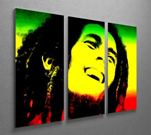 Bob Marley 3 Split Panel Canvas Print - Canvas Art Rocks - 2