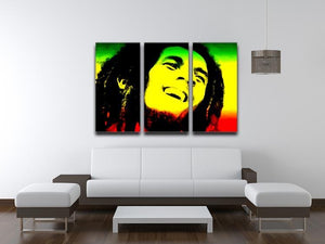 Bob Marley 3 Split Panel Canvas Print - Canvas Art Rocks - 3