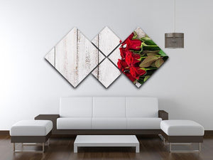 Bouquet of red roses on a light wooden background 4 Square Multi Panel Canvas  - Canvas Art Rocks - 3