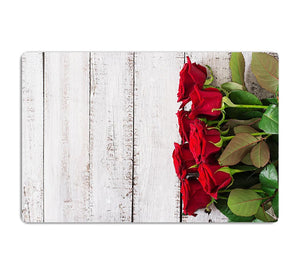 Bouquet of red roses on a light wooden background HD Metal Print