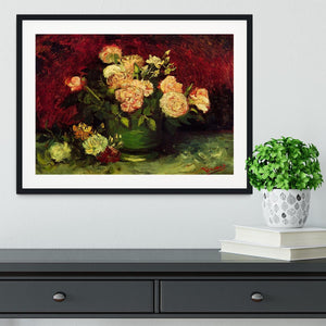 Bowl with Peonies and Roses by Van Gogh Framed Print - Canvas Art Rocks - 1
