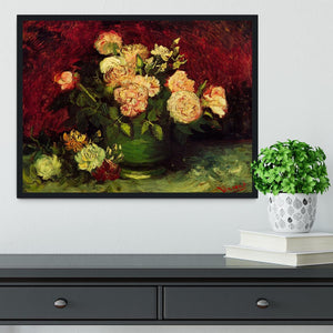 Bowl with Peonies and Roses by Van Gogh Framed Print - Canvas Art Rocks - 2