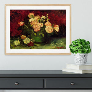 Bowl with Peonies and Roses by Van Gogh Framed Print - Canvas Art Rocks - 3