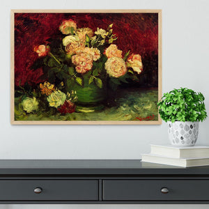 Bowl with Peonies and Roses by Van Gogh Framed Print - Canvas Art Rocks - 4