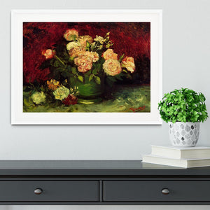 Bowl with Peonies and Roses by Van Gogh Framed Print - Canvas Art Rocks - 5