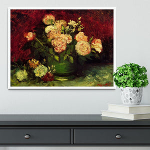 Bowl with Peonies and Roses by Van Gogh Framed Print - Canvas Art Rocks -6